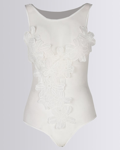 04ae5aeea8 Royal T Embroidered Mesh Bodysuit White