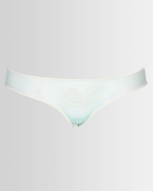 Royal T Mesh & Floral Embroidered Panty Blue