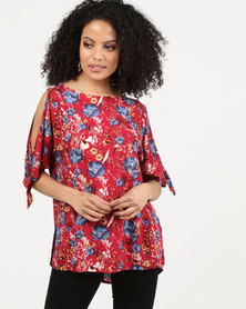 Bukamina Tie Sleeve Top Red