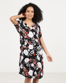 Bukamina V Neck Dress Black Print