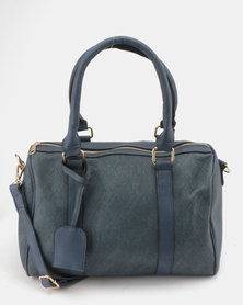 Utopia Faux Leather Weekender Bag Navy