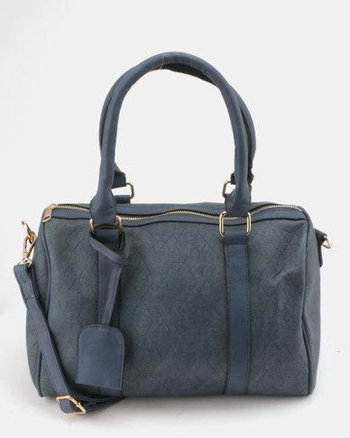 Utopia Faux Leather Weekender Bag Navy