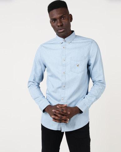 33d9d168420 Polo Jeans Co Mens Long Sleeve Light Wash Denim Shirt Light Blue