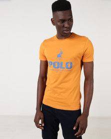 Polo Mens Classic Printed Crew Neck Orange