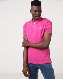 Polo Mens Custom Fit Short Sleeve Pique Golfer Magenta