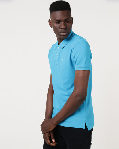 Polo Mens Custom Fit Short Sleeve Pique Golfer Turquoise
