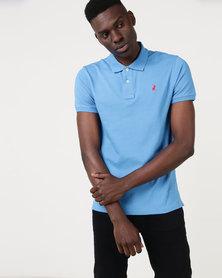 Polo Mens Custom Fit Short Sleeve Pique Golfer Blue