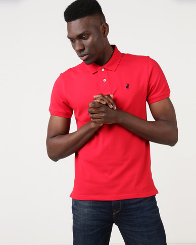 Polo Mens Stretch Pique Short Sleeve Golfer Red