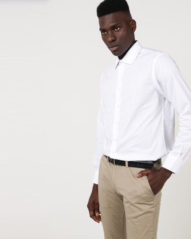 Polo Mens Custom Fit Work Shirt White