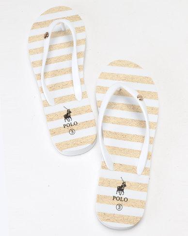 a69481359023 Polo Kayla Stripe Flip Flops White