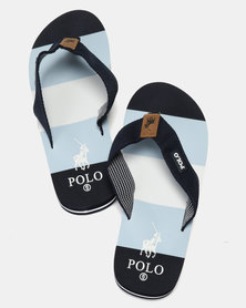 Polo Mens Fabric Thong Flip Flops Navy