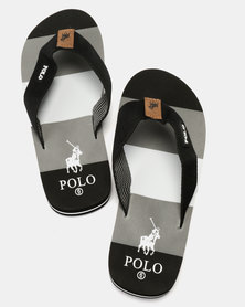 Polo Mens Fabric Thong Flip Flops Black