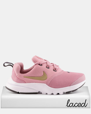 classic fit d0081 cf8a7 inexpensive nike presto fly elemental sneakers pink metallic gold b04b1  eb273