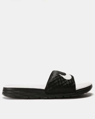 new style aa887 60597 Nike Womens Benassi Solarsoft Sandals Black White