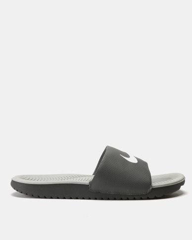03b38279f078 Nike Kawa Slides Dark Grey White