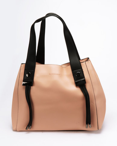 Blackcherry Bag Simple Contrast Tote Nude