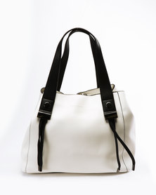 Blackcherry Bag Simple Contrast Tote White