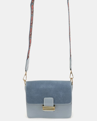 Blackcherry Bag Statement Strapped Mini CrossBody Bag Blue