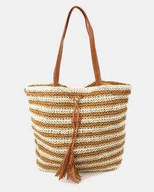 Blackcherry Bag Crochet Striped Handbag