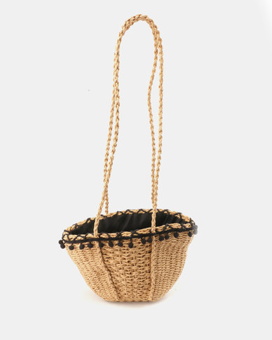 Blackcherry Bag PomPom Trim Straw Bag Brown