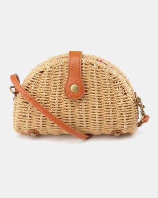 Blackcherry Bag Half Moon Mini Crossbody Bag Brown