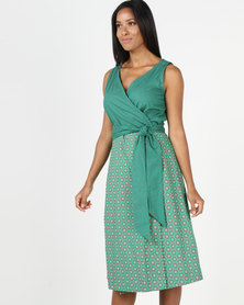 SHWE The Wearable Library Jabu Wrap Dress Midi Length Green
