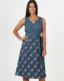 SHWE The Wearable Library Jabu Wrap Dress Midi Length Blue