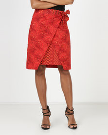 SHWE The Wearable Library Mavis Wrap Skirt Red