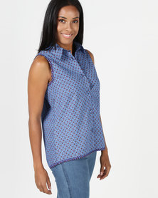 SHWE The Wearable Library Paige Sleeveless Shirt Blue