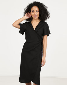 All About Eve Avery Wrap Dress Black