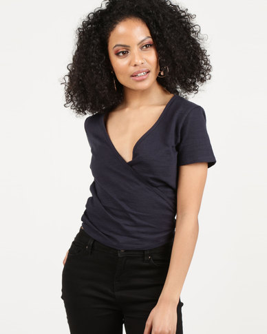 All About Eve Evie Wrap Top Dark Blue