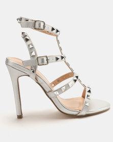 Sissy Boy Studded Gladiator Heeled Sandal Silver