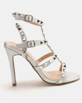 d28b9414f24 Sissy Boy Studded Gladiator Heeled Sandal Silver