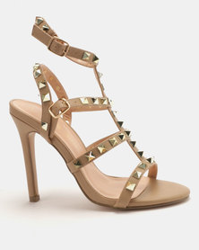 Sissy Boy Studded Gladiator Heeled Sandal Nude