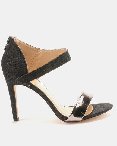 Sissy Boy Ankle Wrap Heeled Sandal Black
