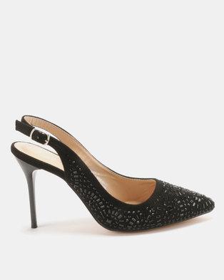 13d05f2eef Sissy Boy Jewelled Pointy Slingback Heels Black