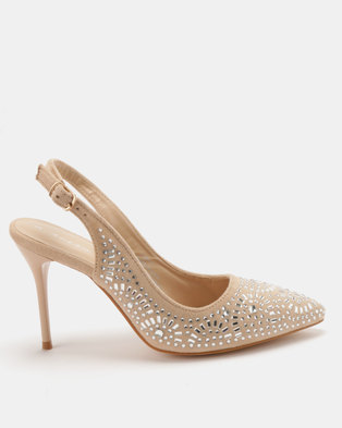 Sissy Boy Jewelled Pointy Slingback Heels Neatural