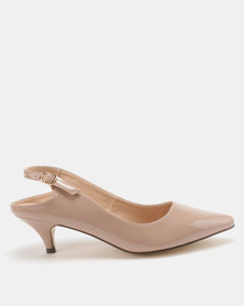 Gino Paoli Extended Slingback Kitten Heel Courts Nude