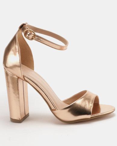 e2b0e8e27947 Sissy Boy Block Heel Sandal Rose Gold