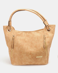 Blackcherry Bag Zip Detailed Handbag Tan
