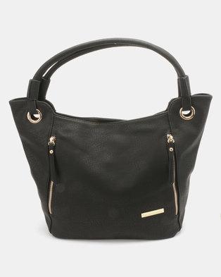 Blackcherry Bag Zip Detailed Handbag Black