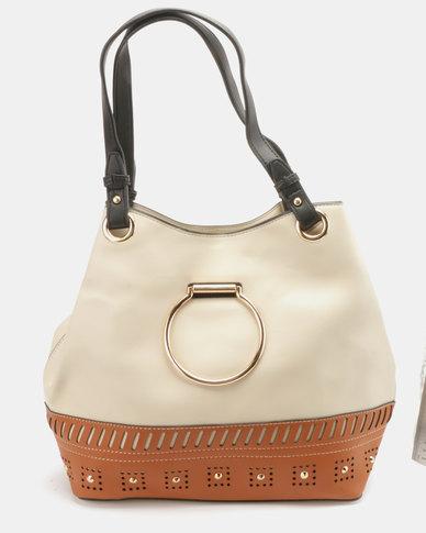 Blackcherry Bag Ring Detailed Handbag Beige