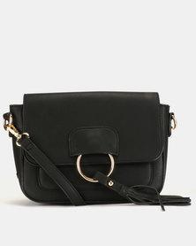 Blackcherry Bag Tassel Ring Detailed CrossBody Bag Black