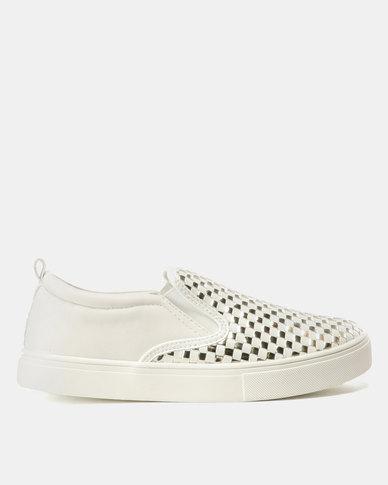 Madison Zaci Woven Vamp Slip On Sneakers White