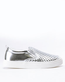 Madison Zaci Woven Vamp Slip On Sneakers Silver