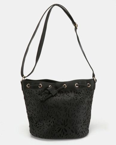 Utopia Lasered Drawstring Bag Black