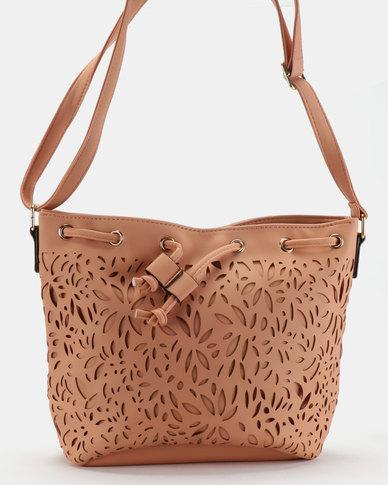 Utopia Lasered Drawstring Bag Peach
