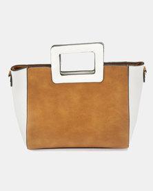 Utopia Colour Block Handle Bag Tan White