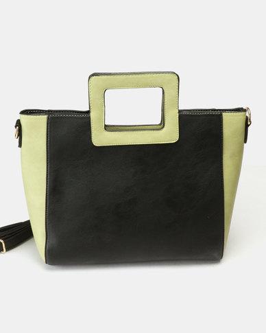Utopia Colour Block Handle Bag Black Green