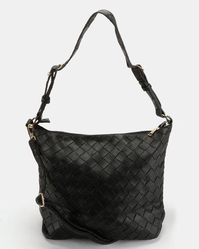 Utopia Weave Embossed Handbag Black